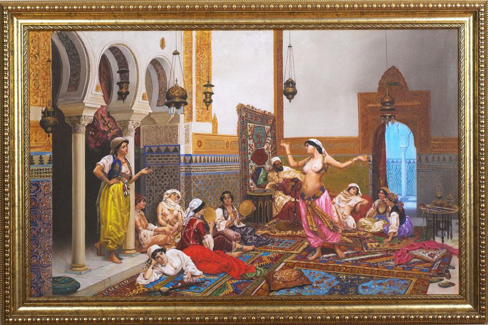 "Painting: The Harem Dance | Medium: Mixed Media | Size: 3'.9"" x 2'.3 ..."
